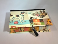 Rectangular Box with Vintage Dog Ads Paper