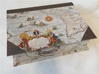 Large Rectangular Box with Willem Blaeu's Americae Nova Tabula 1617 antique map