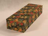 Flat Oblong Box Covered in Japanese Red & Orange Chrysanthemums paper