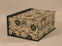 Square Black Flowers Indian Paper Box