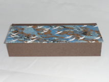 Four Compartment Box with Cranes on Blue Rivers and Brown Fields paper