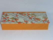 Four Compartment Box with Orange Plum Blossoms Japanese paper