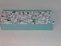 Four Compartment Box with Pink & White Plum Blossoms on Aqua