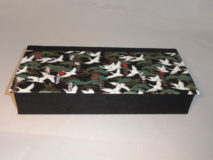 Four Compartment Box with Cranes flying over Green Trees Japanese paper