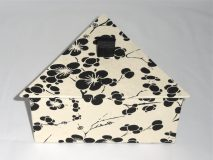 Triangular Box with Black Flowers on Cream colored paper