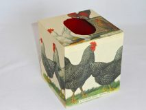 Tissue Box Cover with Breeds of Chickens and Roosters paper