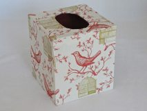 Tissue Box Cover with Red Bird and Golden Cage paper