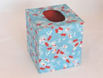 Tissue Box Cover with Yuzen Blue Koi paper from Japan