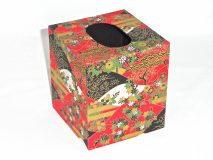Tissue Box Cover with Black & White Mountains and Flowers paper