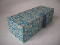 Oblong Box with Katazome Blue Trees Paper